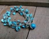 Turquoise bracelet Necklace, december birthstone, Turquoise chips gemstone, crochet linen bracelet, Bohemian, crochet bracelet,boho romantic