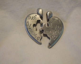 Take another little piece of my heart puzzle heart two piece pendant, custom engraved names best friend, boyfriend, girlfriend pendant