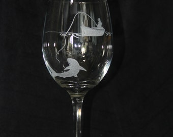 "Hand Etched Wine Glass- ""Gone Fishing"""
