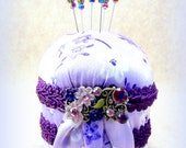 CLEARANCE Petite French Violet lavender satin purple pincushion Victorian focal decorative straight pins vintage look sewing room TAGT