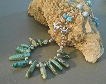 Tribal Necklace Turquoise Silver Birds Silver Beads Boho Hippy Southwest Great Layering Necklace Gift Trending Colors