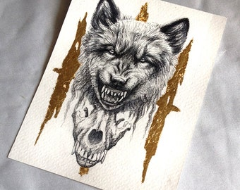 Original - Snarling Wolf with Wolf Skull With Gold Leaf Ink Drawing Nature Fantasy Surreal Art by Danielle Trudeau