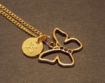 Personalized Charm Necklace- Gold Butterfly