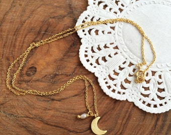 Tiny Moon necklace . Gold plated chain necklace. Little moon necklace. Pearl and Crescent necklace. Everyday necklace