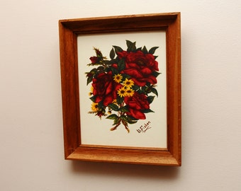 Mid Century Original Painting Red Roses in Oak Frame signed