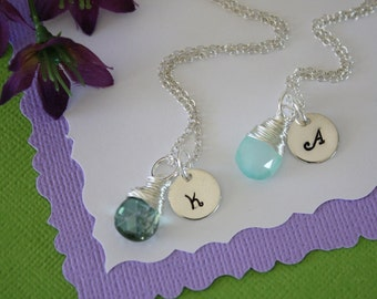 2 Bridesmaid Initial Necklace Gift, Personlized Jewelry, Bridal Party, Gemstone and Initial, Gift Set, Sterling Silver, Wedding