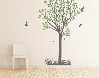 Tree with birdcage Vinyl Wall Sticker Life Size | 110cm  x 195cm // 43 x 76 inches |