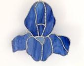Stained Glass Flower - Suncatcher -  Blue Iris - Handmade
