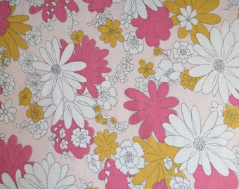 Half Yard of Vintage Sheet Fabric - Pink and Yellow Outlined Floral - 1/2 yd