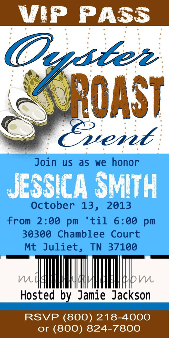 oyster roast invitation shower or birthday printable ticket