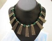Repurposed Jungle Goddess Malachite Semi-Precious Gemstone Chips Choker Necklace Jewellery Upcycled Jewelry Jungle Wild Green Woman