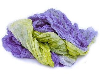 yellow silk scarf - Freesia in Bloom -  yellow, blue purple silk ruffled scarf.
