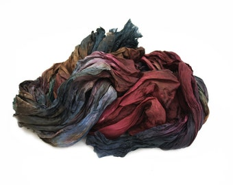 Friendship -  brown, green, emerald, blue, burgundy silk scarf.