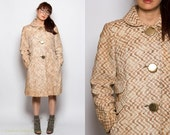 RESERVED 1960s Ivory Brown Tan Boucle Swing Coat w Oversized Gold Buttons Sz. Medium