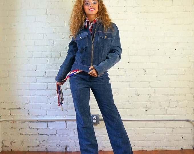 Suede Pants Suit 1970s Motorcycle Jacket Pants Set Small 26 X 31 Blue Denim Look Vintage Biker Outerwear Indigo Riding Gear by Wheels of Man