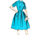 50s Sewing dress pattern. Uncut Advance 9082. Shirtwaist flared dress pattern. Size 10. Swing dress. Twee dress