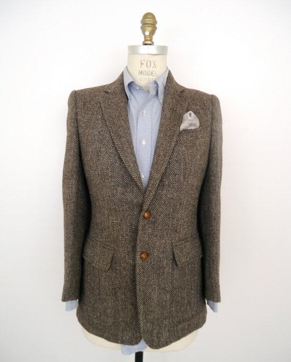 Gray herringbone wool sport coat vintage suit jacket men s small