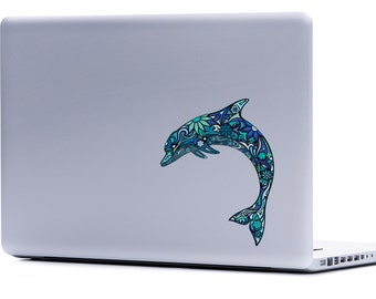 Dolphin Decal | Dolphin Laptop Decal Dolphin Macbook Dolphin car decal dolphin sticker under the sea decal save the dolphins nautical decals