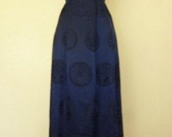 1950s Dark Blue Silk Gown with Asain print.