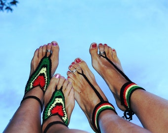 Handmade Crochet Rasta Barefoot Sandals, Hippie Foot Thongs, Crochet Accessories, Bridal, Bridesmaids, Summer, Beach