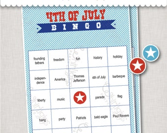 4th of July Bingo INSTANT DOWNLOAD party game
