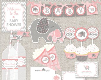 DIY Elephant Baby Shower Printable PDF Party