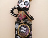 Day of the Dead Skeleton Plush of the March Hare - OOAK art doll rabbit Universe Stars
