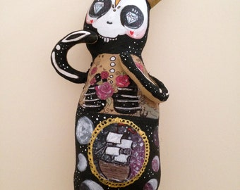 March Hare - OOAK art doll, rabbit, Universe - Stars-  Day of the Dead Skeleton Plush- Gold and Galaxy- Moons - Made to Order soft sculpture