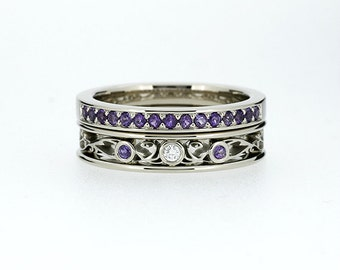 Engagement Ring Set, Filigree Ring, Amethyst Wedding Band, Filigree  Engagement, Purple,