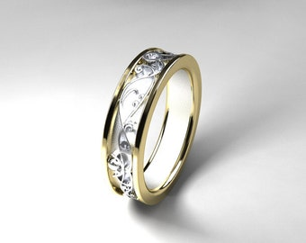 Wide Two Tone Filigree Ring With Diamond Mens White Gold Yellow