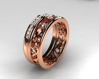 Rose gold filigree engagement ring set, diamond engagement ring, half eternity, diamond wedding ring, unique, rose gold wedding, eternity