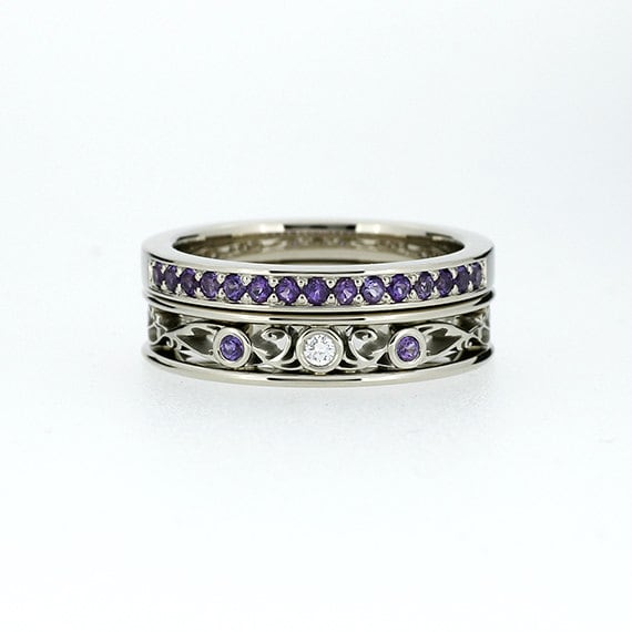 Engagement ring set filigree ring amethyst wedding band for Amethyst diamond wedding ring set