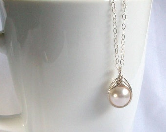 Single Pearl Necklace, Sterling Silver Swarovski White Pearl Pendant, Wire Wrapped Necklace, Wire Wrapped Jewelry Handmade