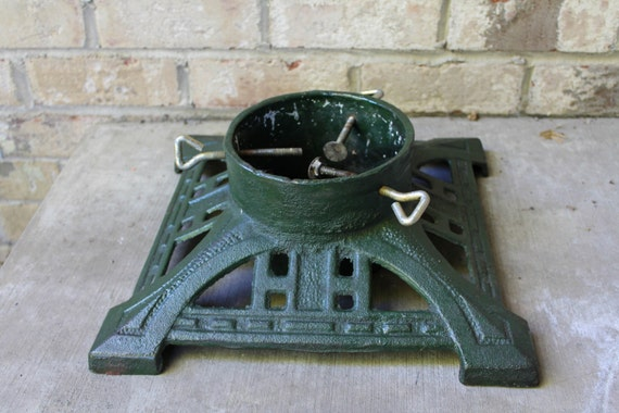 Vintage green tree stand cast iron christmas tree holiday