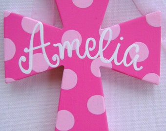 Hand painted personalized kids 6 inch wooden cross painted cross baptism cross kids cross ornament