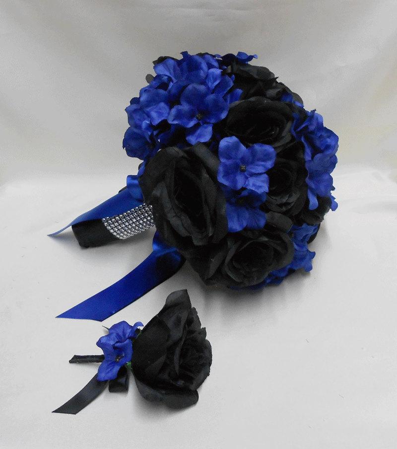 Wedding Bridal Bride's Bouquet Silk Flowers Black Roses