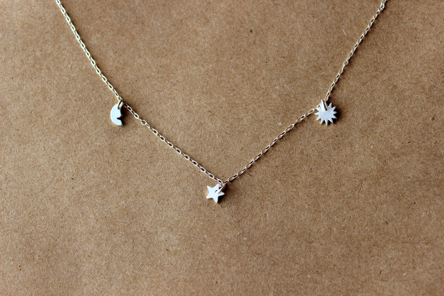 Silver Moon Star Sun Necklace Sterling Silver Necklace