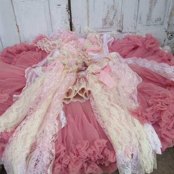 Christmas tree skirt pink shabby home decor with tattered