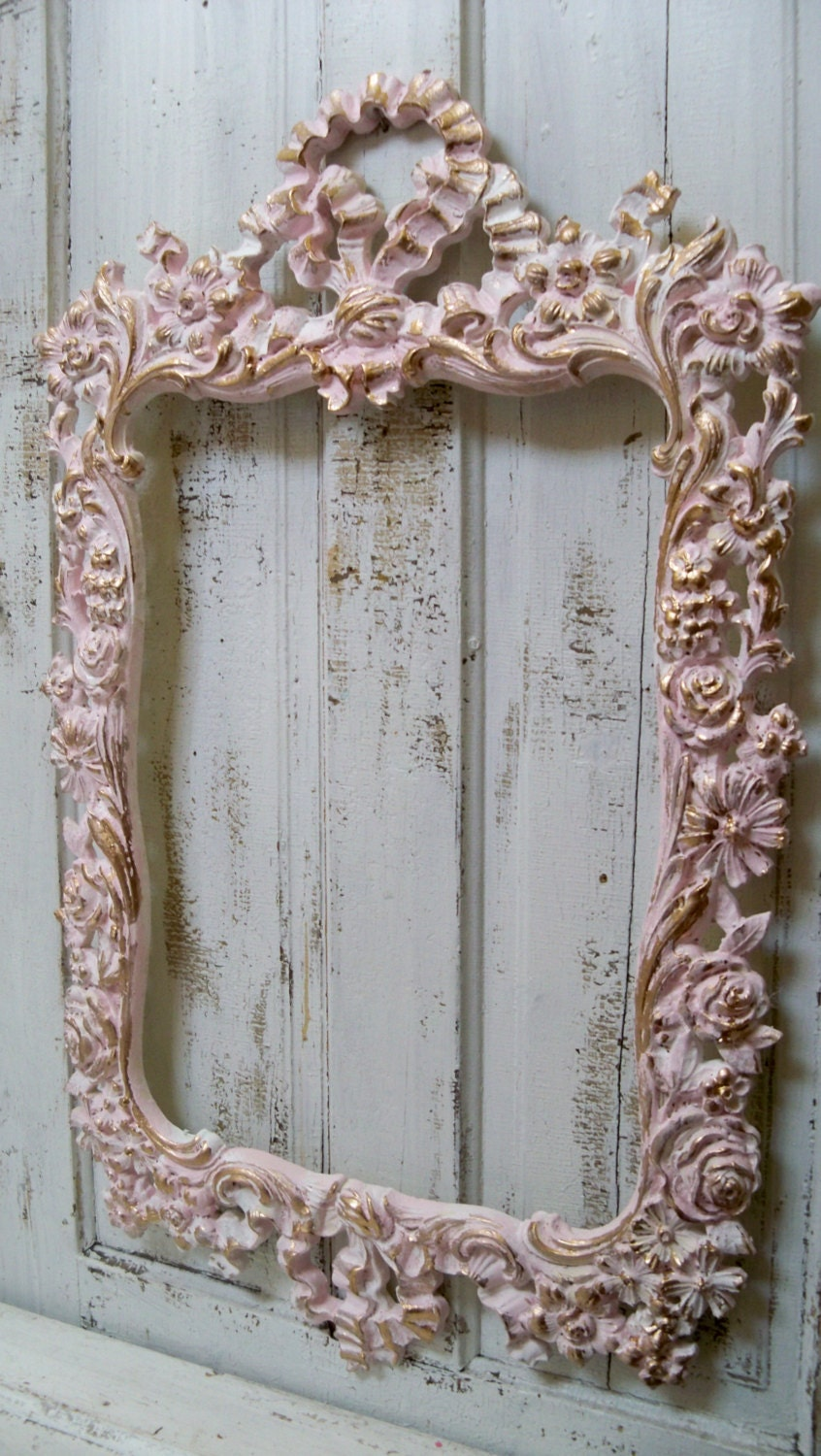 large shabby chic pink wall frame ornate white accented gold