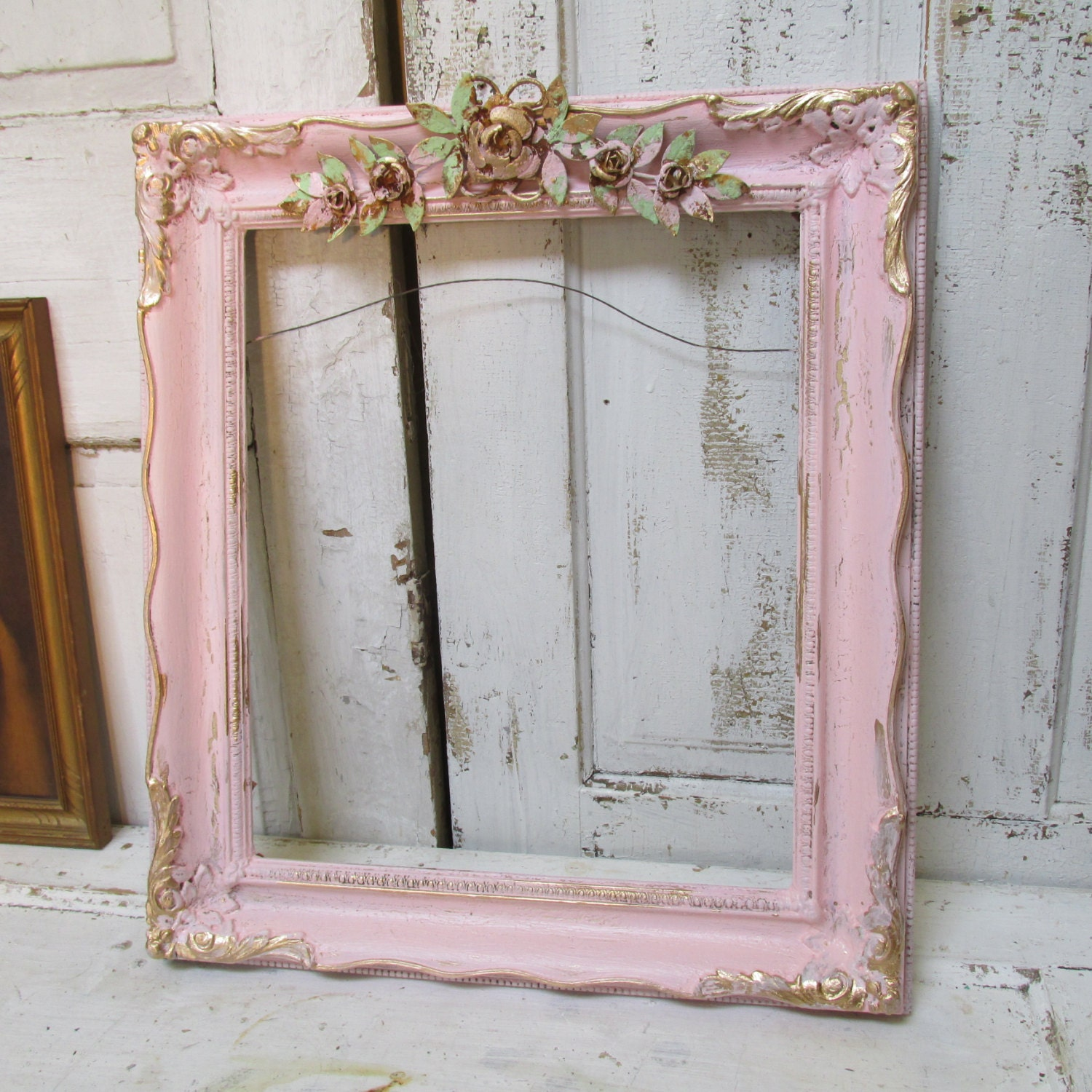 Pink Picture Frame Large Vintage Cottage Wooden Shabby