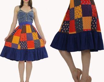 Boho skirt Patchwork skirt Hippie skirt Festival skirt Bohemian skirt summer skirt Mini skirt Ruffle skirt Blue skirt Floral skirt