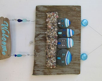 Driftwood Welcome Sign with rocks, shells, and beads. READY TO SHIP