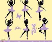 Ballerina Silhouettes in Purple Clipart Set