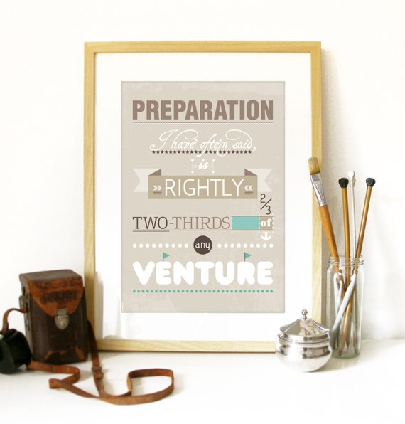 Amelia Earhart quote Poster Print with Typography Preparation I often said is rightly two thirds of any venture Poster Amelia Earhart quote