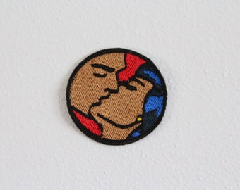Comic Book Patch. Embroidered patch. Pop art. Romance Love Scene