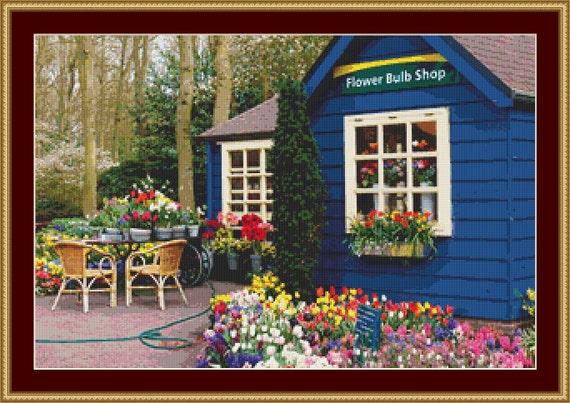 Flower Bulb Shop Cross Stitch Pattern /Digital PDF Files /Instant downloadable