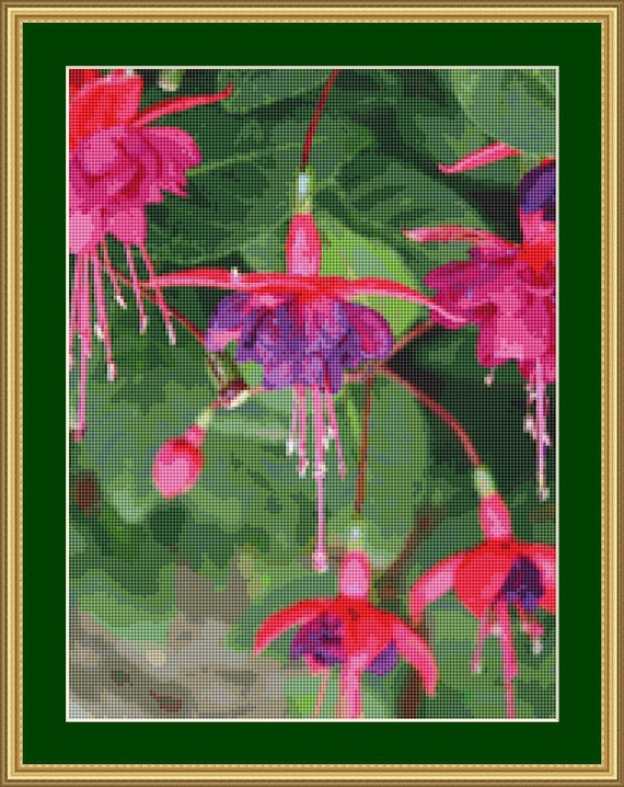 Fushia Blossom Cross Stitch Pattern /Digital PDF Files /Instant downloadable