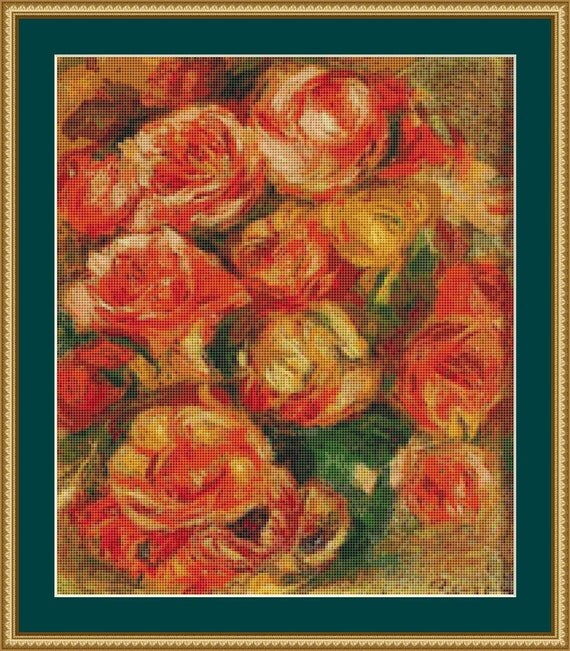 A Bowlful Of Roses Cross Stitch Pattern /Digital PDF Files /Instant downloadable