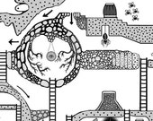 Justinia World 2 (Standard Edition) - Printable hand drawn Dungeons & Dragons style board game map for kids.