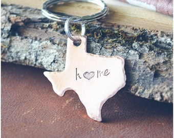 Home State Pride Keychain - Pick Your State - Home Town Pride Key Ring - Home State Keyring - Home with a Heart - Home is Where the Heart is